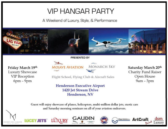 Lucky Jets March 19 VIP Hangar Party at the Henderson Executive Airport