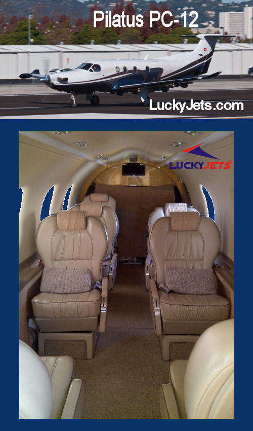 King Air & Pilatus PC 12 Charters arranged by LuckyJets 888-858-2595